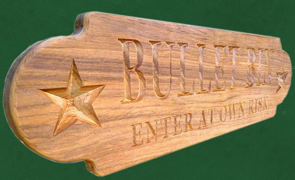 BULLET BIN custom nameboard