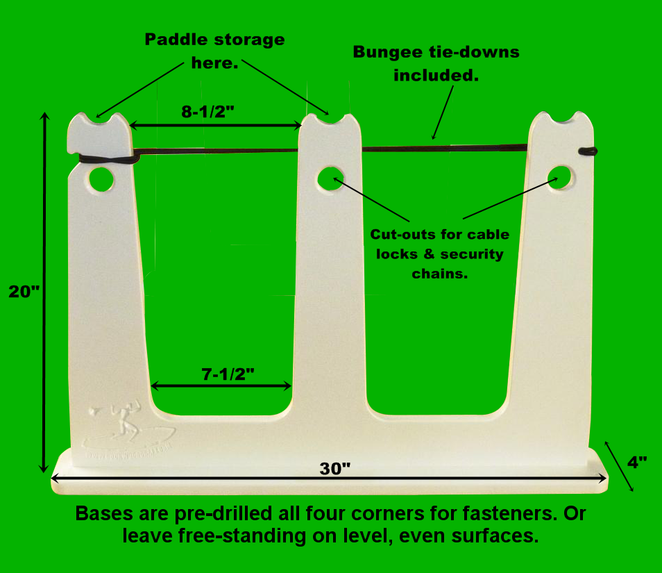 Double touring sup rack on green - annotated
