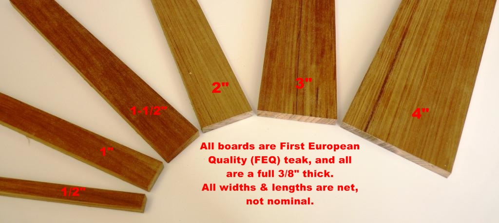 3-8ths inch teak examples in a group