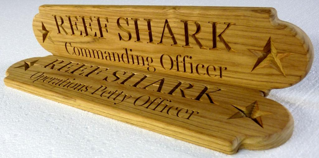 custom name board uscg reef shark officers