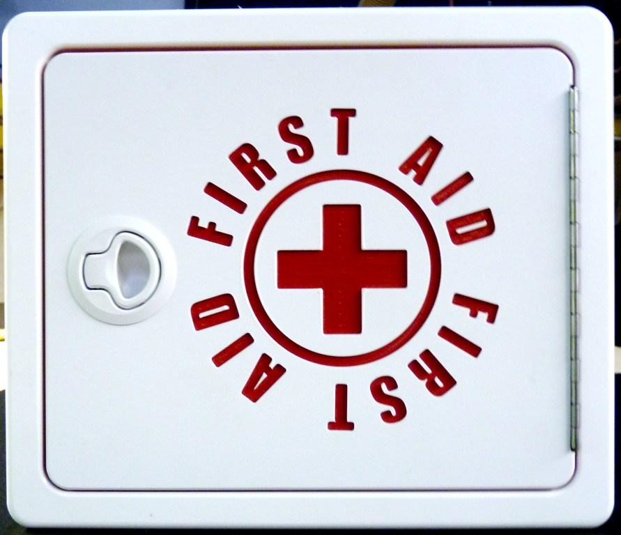first aid cabinet front view