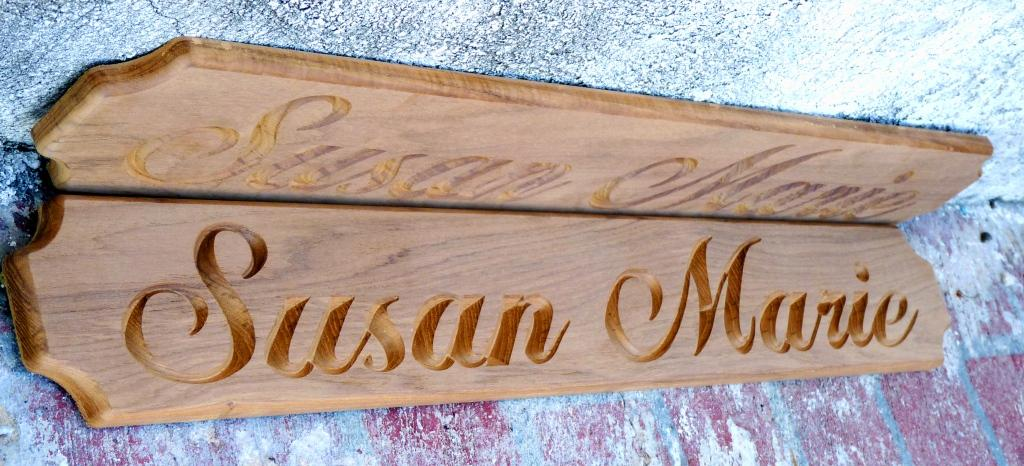 SUSAN MARIE custom nameboard