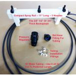 Compact spray rail & components: 10' water tubing, faucet coupler, water pressure regulator, mounting brackets.