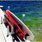 This rack stows 3 SUPs and their paddles. All our SUP racks are pre-drilled for easy installation on your dock. Or add a set of 4 cross braces for excellent free-standing stability, with no permanent installation required.