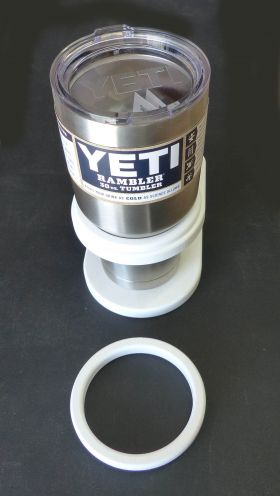 This insert adapts any Buck Woodcraft drink holder to fit 30 oz YETI Rambler Tumblers.